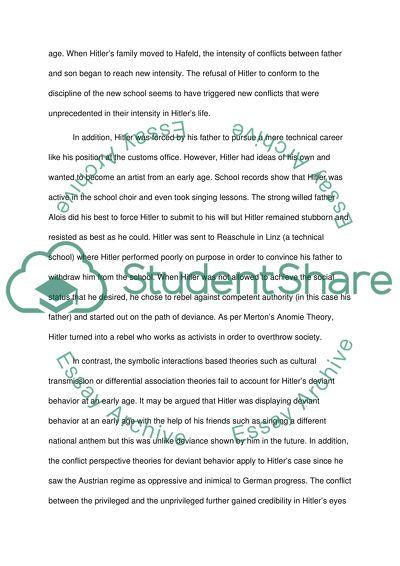 Hitler  Deviant Behavior Essay Example  Topics And Well Written  Hitler  Deviant Behavior Best Essays In English also Research Essay Thesis  Essay Mahatma Gandhi English