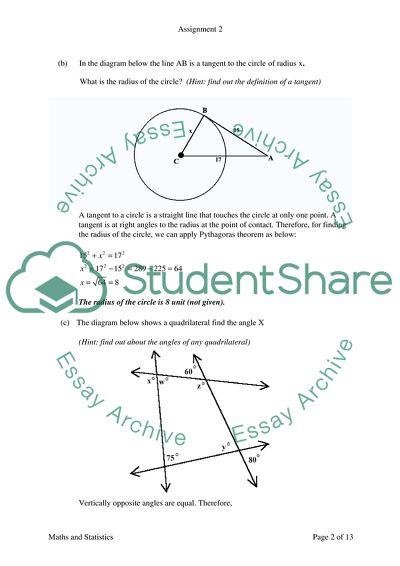 Maths and Statistics Assignment 2