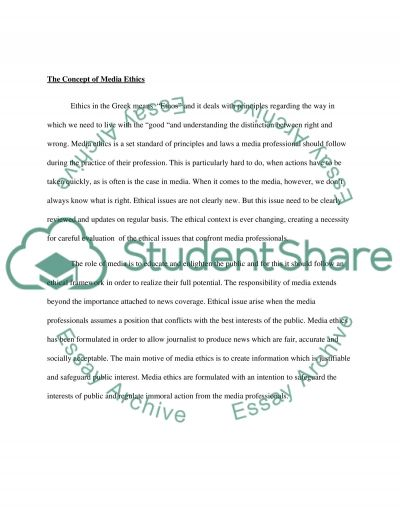 Media ethics essay - Research paper Sample