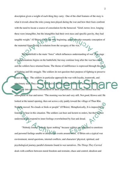 The Things They Carried Essay Example  Topics And Well Written  The Things They Carried Essay