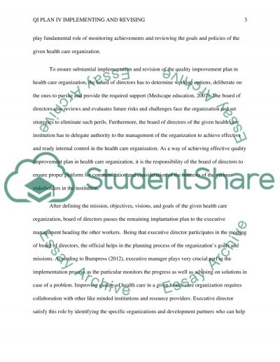 QI Plan IV Implementing and Revising essay example