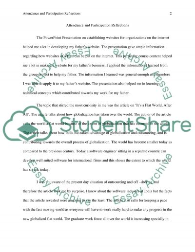 Self Attendance and Participation evaluation essay example