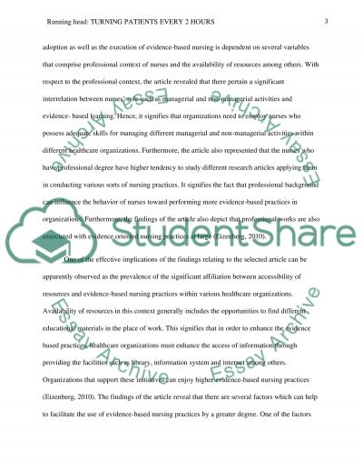 Turning patients every 2 hours essay example