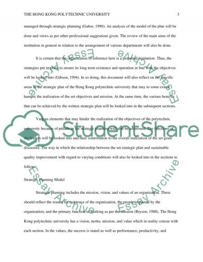 A Strategic Plan of the Hong Kong Polytechnic University essay example