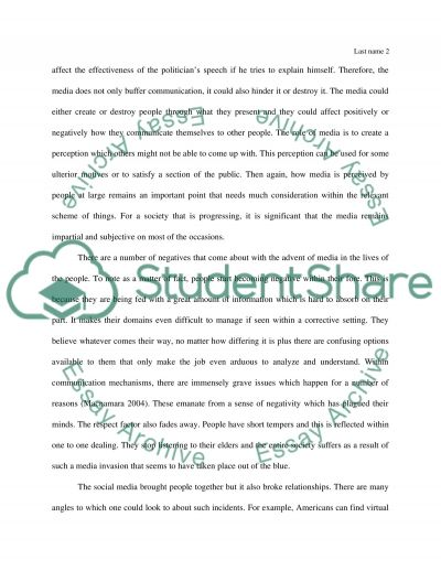 the media effect in communication Essay example