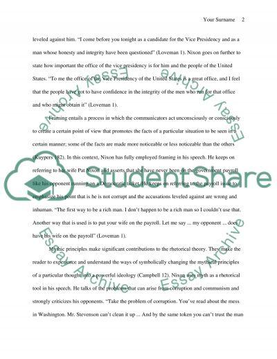 Richard Nixons Checkers Speech: Applying Communication Method essay example