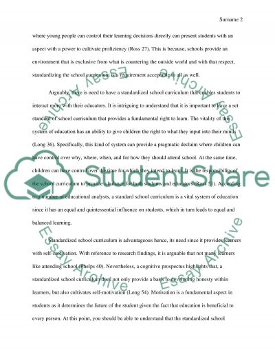 Should School Curriculum be Standardized for All essay example