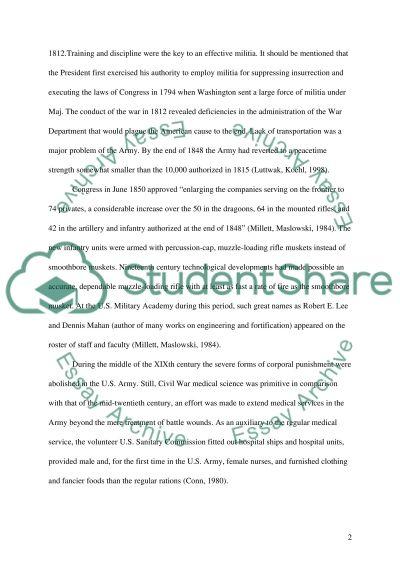 US Army history essay example