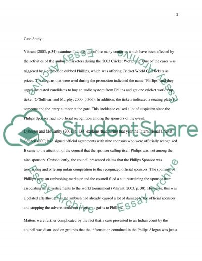 How official sponsors have been affected by the activities of ambush Essay example
