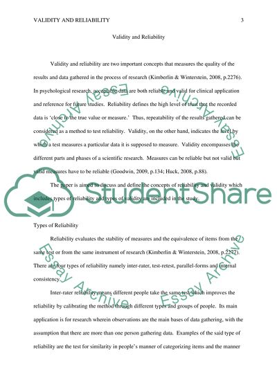 validity and reliability essay example