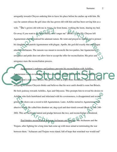 Pride in the iliad essays