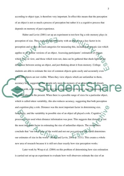 essay perception psychology Perception term papers available at planet paperscom, the largest free term paper community.