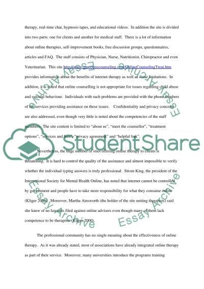 Online Therapy Essay example