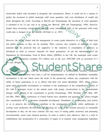 Waste Minimization in UK essay example