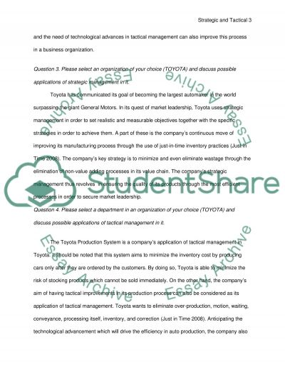 Strategic and Tactical Management essay example