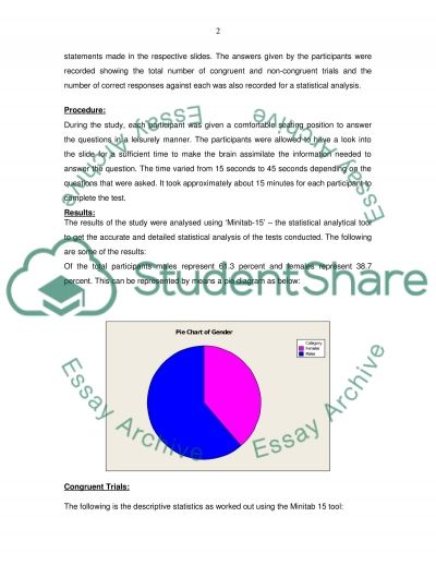 Gender Differences in the Performance on the Stroop Test essay example