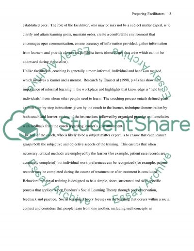 Preparing Facilitators Essay example