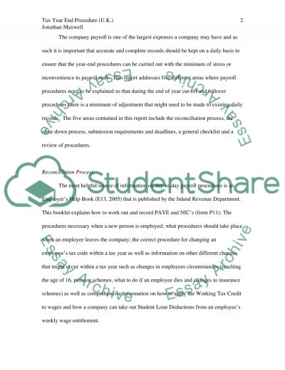 Tax Year End Procedure Essay example