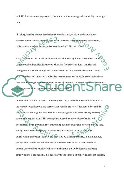 Gov Policy that promotes Lifelong Learning essay example