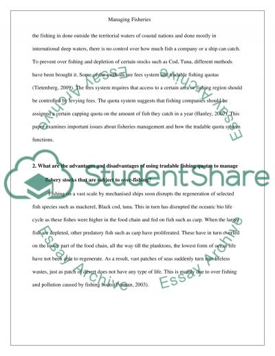 Managing Fisheries essay example