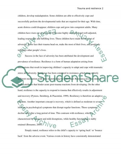 Childhood trauma and Resiliency essay example