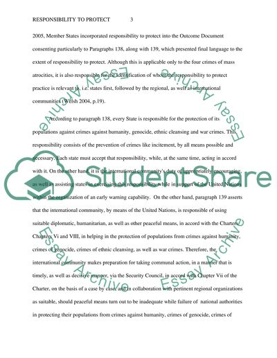 Responsibility to Protect Essay