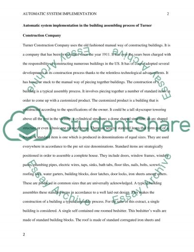 Automation System Implementation in manual process of a company essay example