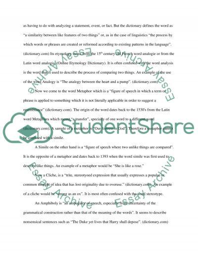 Figurative Language versus Literal Language essay example