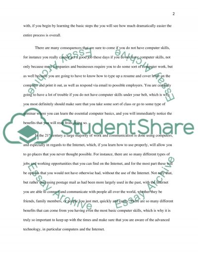 Persuasive Essay: Mastering Computer Skills essay example