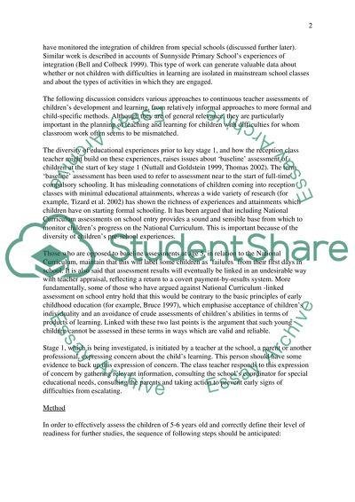 Assessments of children starting formal schooling