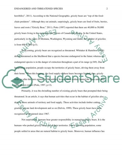 Endangered and Threatened Species of Wyoming essay example