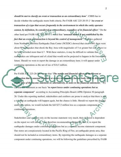 Memo on Earthquake essay example
