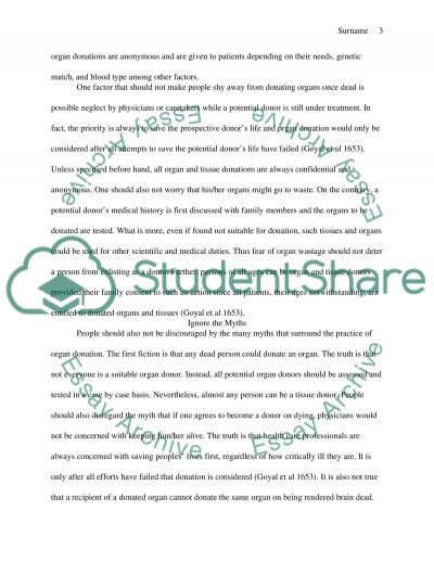 the reasons to support organ donation persuasive essay research text