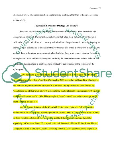 Ebusiness Strategy Essay Example  Topics And Well Written Essays  Ebusiness Strategy