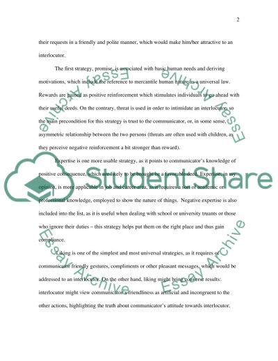 Compliance-gaining methods essay example