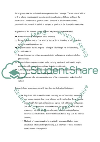 Research for Study Purposes essay example