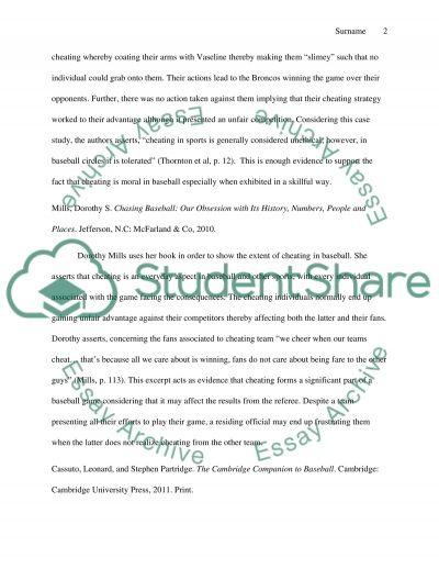 Cheating in baseball essay example