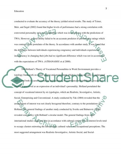 Education - Career Guidance essay example