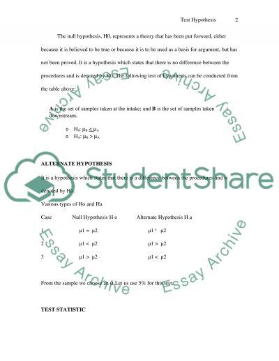 Hypothesis Testin Paper essay example