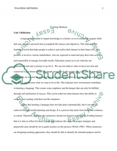 Reflection essay example