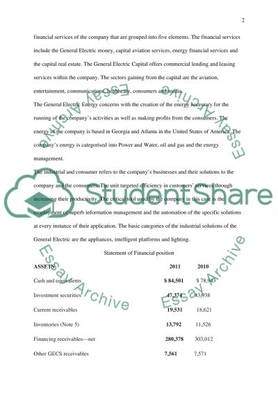 General Electric Report essay example