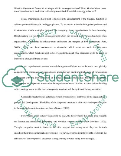 Financial Strategy College Essay