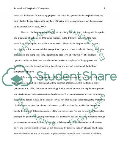 International Hospitality Management essay example