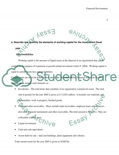 Working Capital and Financial Environment Paper essay example
