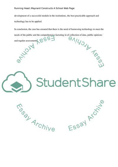 Maynard Constructs A School Web Page Case Study