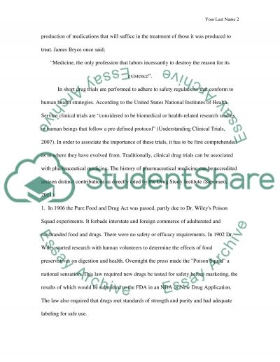Clinical Trial Drugs Regulations and Manufacture essay example