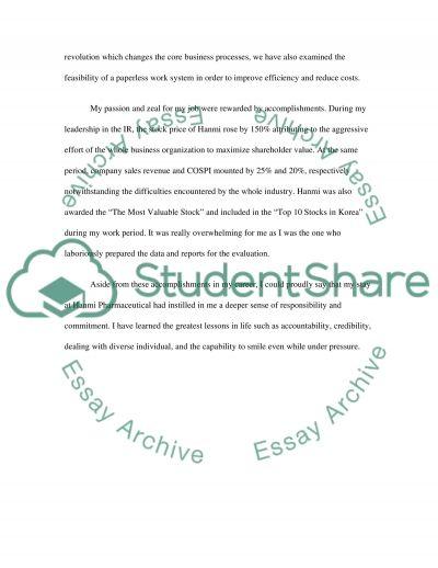 MBA admmision essay essay example