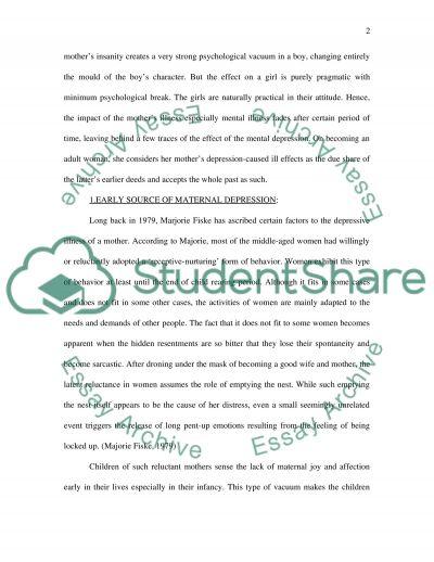 Depressive ill parent essay example