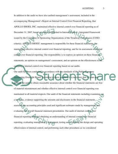 The Audit Report and Internal Control Evaluation essay example