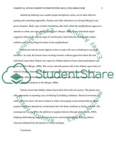 Parental Involvement in Preventing Bullying Behavior